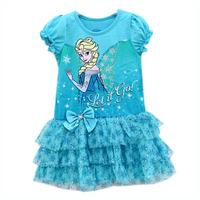 Girl Elsa Princess Dress Girls' Summer Pink Dresses New 2014 Wholesale Kids ShortSleeve Frozen Clothes IDZ9409