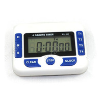 1pcs 4-Zone Screen Digital Kitchen Timer Alarm Count Up Down + Clock Magnetic