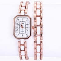 Free shipping wholesale high quality women watch luxury brand ceramic rose gold band polygon shape alloy watch with tags