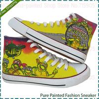 Korean Female Tide Shoe Hand Painted Women's Teenage Mutant Ninja Turtles Four Seasons shoes Lady Lace-Up Breathable Sneakers