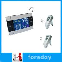 Original 2 TO 1 Weather Station Alarm Clock Wireless RF Temperature 1 Receiver +2 Sensors HongKong Post or Singapore Post NEW