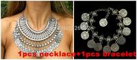 1set  Hot Selling Fashion vintage silver Plated Alloy coin tassel metal bracelet Anklet Necklace Set Festival Turkish jewelry