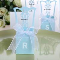 GAGA ! Free shipping blue chair shaped wedding box  with white tag and ribbon 200 pcs/lot  ,THX716-3