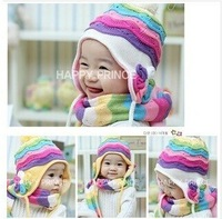 Cheap Sale Baby Winter Hat Scarf Cap Rainbow Striped Infant Hat   4 Colors  Free Shipping