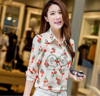 2014 new fashion floral print women blouse & shirts casual chiffon blusa tops for lady plus size XL-4XL Q092