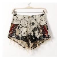 Fashion 2014 Autumn New Shorts Folk Style Shorts Worn Old Female Splice The Tassel Jeans Women Shorts Jeans