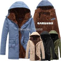 2014 autumn/winter fashion men's long add wool warm dust coat  fur coat trench coat men Size: M L XL XXL  Free shipping