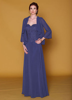 Stylish Beaded Mother of the Bride Dresses with Jacket Chiffon Long Sweetheart Formal for Weddings MS010