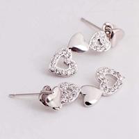 2014 New Created Diamond 925 Sterling Silve Love Heart Dangle Earrings Luxury Zirconia Bijoux Brand Brincos Wholesale Ulove R509