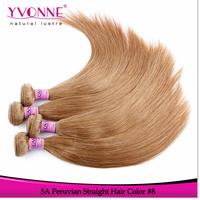 Grade 5A Straight Peruvian Hair,3Pcs/lot Remy Human Hair Weave,16-22 inches Aliexpress Yvonne Hair,Color #8