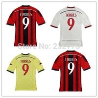 Top Quality AC MILAN 14/15 #9 Fernando Torres Home Away 3rd Red Black White Shirt 2014/2015 Cheap Soccer uniforms Football kit