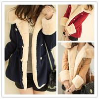 New 2014 Winter Autumn Women Jacket Coat Parkas Warm Cotton Parka Women's Wool Slim Jackets Coats casacos femininos M-XL  C0943