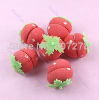 Free Shipping 200sets(1200pcs)/lot Strawberry Soft Sponge Hair Curler Roller Balls