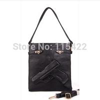 new designed women pistol clutch gun pu leather handbag evening shoulder bag drop shipping