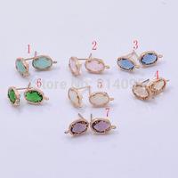 Bezel Stone Earring Connectors - Rose gold Mix Color-Links Mix type (70pcs)