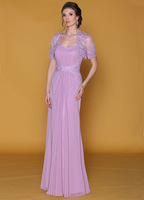Lavender Mother of the Bride Dresses with Bolero Jacket Lace Chiffon Suits Women Free Shipping MS015
