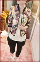 Korean Hitz coat women wild floral trend zipper jacket collar long-sleeved jacket slim casual large size Outerwear British style