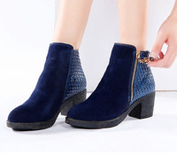 2014 Genuine leather winter and autumn platform martin boots fashion side zipper suede warm women ankle boots plus size