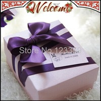 Purple Bowknot Ribbon Wedding box Candy Box Wedding Favors Wedding decoration Wedding Party Gift box 20PCS Free Shipping
