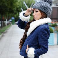 2014 autumn and winter outerwear berber fleece short design thickening wadded jacket female cotton-padded jacket cotton-padded