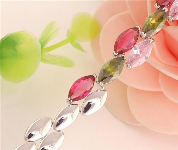 Hot Fashion 925 sterling silver Beautiful Womens Multicolored Horse Eye CZ Bracelet(China (Mainland))