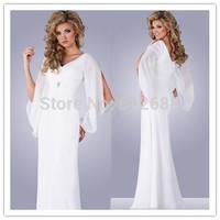Free shipping Best Sale Simple Design White A-line Chiffon Zipper Back  V-neck Wedding Dress Custom Color&Size