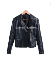 New design high quality PU women leather jacket winter coat  jaqueta  couro feminina JC1056