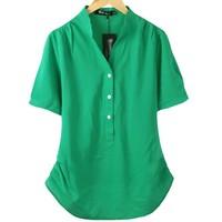 6 Colors Fashion blouse 2014 summer top women loose shirt chiffon plus size clothing short-sleeve shirt XXXXL 3XL