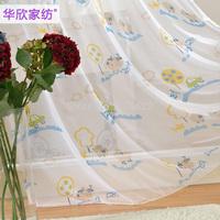 Child print cartoon curtain yarn real princess curtain window screening rustic tulle curtain free shipping