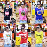 2014 autumn plus size women's t shirt fashion Korean style female cotton loose basic shirt long-sleeve T-shirt for women