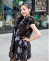 Real luxury new fashion tops 2014 new fashion women's natural fox fur vest medium-long  fur coat female XL-5XL