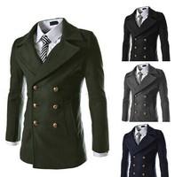Double row metal buckles adornment Men's fashion cloth coat coat