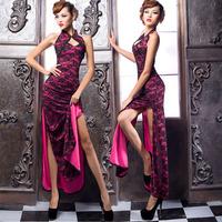 2014 Latest dress designs vestidos vintage chinese style tang suit fashion cutout lace design long cheongsam one-piece dress