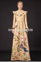New 2015 spring autumn luxury vintage fashion animal floral print x long dress floor length maxi flare sleeve ruffles dresses