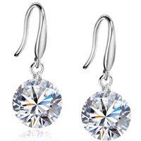 2014 New Fashion Design 925 Silver Plated Austrian Zircon Pendant Water Drop Crystal Earrings Jewelry Womens Drop Earrings