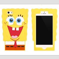 Cute Cartoon 3D Spongebob Case Cover For iPhone 5 5S