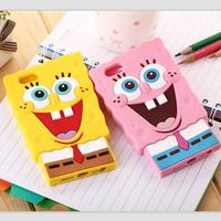 3D Cute Cartoon Case Spongebob Sponge bob Baby Silicone Cover Case for iPhone 5 5S