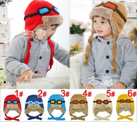 New Retail Children Knitted Pilot Hats Winter crochet Hat with villi inner Kids Earflap Cap 4-8 Years Old