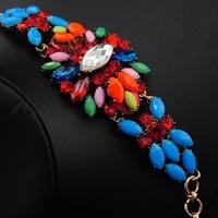 Wholesale Bracelet 2014 New Europe Jewelry Rhinestone Bangle Vintage Colorful Rosary Jewelry Luxury Women Cuff Bracelet