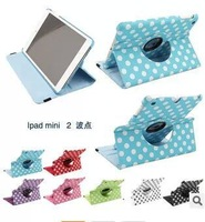 "New Polka Dots for Ipad Mini 2 Leather Case Mini2 Tablet PC Accessory Protective Skin Cover 7.9"" Inch Revolve"