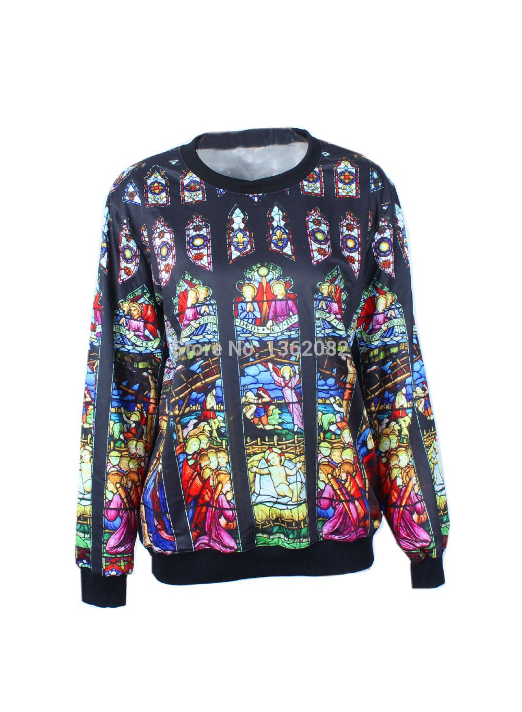 Women Men Church of Our Lady Print Sweatshirt Pullover retro style 3D Digital Printed Full Sleeve Sweatshirts Tops MK19(China (Mainland))