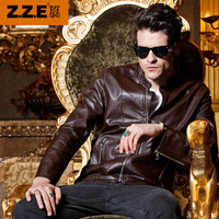 Hot selling  Men leather jacket men's stand collar slim fit outerwear patchwork motorcycle PU faux leather clothing 1067