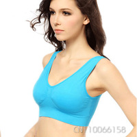 2014 Women Ladies Padded Seamless Push Up Fitness Yoga Sports Bra Brassiere Crop Tops  Activewear Athletic Racerback M-XL 5042