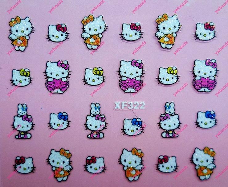 Wholesale!New Fashion Japan Style 20 sheet design tip flat back nail art sticker kawaii cat love tip stickers nail decal DIY003(China (Mainland))