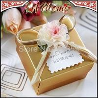 Gold Flower With Bowknot Ribbon Wedding box Candy Box Wedding Favors Wedding decoration Wedding Party Gift box 30PCS