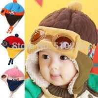 Retail New Pilot Children velboa Hats Winter fur Hat with villi inner Kids Earflap Cap 4 colors