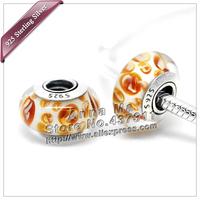 2pcs S925 Sterling Silver Orange Python murano Glass Charm Beads Fit European Jewelry DIY Bracelets Necklaces & Pendant ZS086B