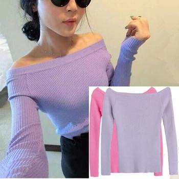 Бесплатная доставка осень и зима основные свитер женский щель декольте без бретелек ...