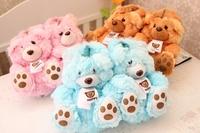 Super cute 1 pair cartoon plush doll happy teddy bear winter warm heel cover home floor slippers children creative toy girl gift