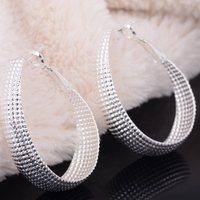 Promotion! 925 Silver Earrings Fashion Silver Circle Net Jewelry Big Hoop Earring for Women